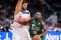 Real Madrid's player Felipe Reyes and Unicaja Malaga's player Oliver Lafayette during match of Liga Endesa at Barclaycard Center in Madrid. September 30, Spain. 2016. (ALTERPHOTOS/BorjaB.Hojas) /NORTEPHOTO