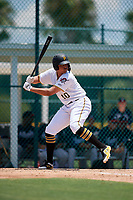 GCL Pirates Emilson Rosado (10) bats during a Gulf Coast League game against the GCL Braves on July 30, 2019 at Pirate City in Bradenton, Florida.  GCL Braves defeated the GCL Pirates 10-4.  (Mike Janes/Four Seam Images)