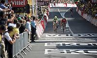 Greg Van Avermaet (BEL/BMC) outsprints Peter Sagan (SVK/Cannondale) for victory.<br /> <br /> stage 13: Muret - Rodez<br /> 2015 Tour de France