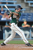 Greensboro Grasshoppers shortstop Daniel Black #18 swings at a pitch during the first game of a double header against the Asheville Tourists at McCormick Field on July 26, 2011 in Asheville, North Carolina. Asheville won the game 12-4.   (Tony Farlow/Four Seam Images)
