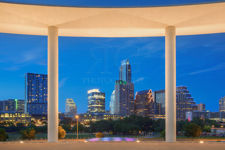 From the pavillion of the Long Center near downtown Austin, Texas, you'll enjoy great views of the skyline and highrises, especially late in the evening when all is quiet.