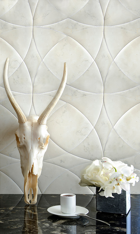 Zazen Grande, a waterjet stone mosaic, shown in Venetian honed Bianco Antico, is a design by Paul Schatz and is part of the Palazzo™ collection by New Ravenna.
