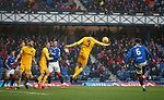 16.02.2020 Rangers v Livingston: Ciaron Brown handles the ball in the box preventing Connor Goldson from scoring