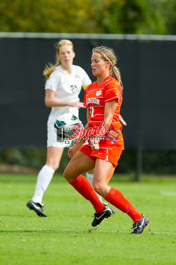Maddy Elder (21) of the Clemson Tigers traps the ball with her chest during second half action against the Wake Forest Demon Deacons at Spry Soccer Stadium on September 30, 2012 in Winston-Salem, North Carolina.  The Demon Deacons defeated the Tigers 4-0.  (Brian Westerholt/Sports On Film)
