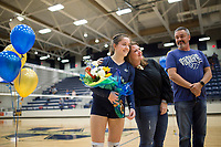 "NWA Democrat-Gazette/CHARLIE KAIJO Bentonville West High School libero Lauren Hawks (11) is honored for ""Senior Night"" during the girl's volleyball game on Thursday, October 12, 2017 at Bentonville West High School in Centerton."