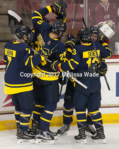 Jonathan Lashyn (Merrimack - 7), Hampus Gustafsson (Merrimack - 20), Brett Seney (Merrimack - 13), Sami Tavernier (Merrimack - 25) - The visiting Merrimack College Warriors defeated the Boston College Eagles 6 - 3 (EN) on Friday, February 10, 2017, at Kelley Rink in Conte Forum in Chestnut Hill, Massachusetts.