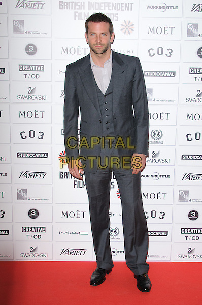 Bradley Cooper.14th Moet British Independent Film Awards 2011, Old Billingsgate, Lower Thames Street, London, England, 4th December 2011.full length grey gray suit blue shirt waistcoat beard facial hair .CAP/CJ.©Chris Joseph/Capital Pictures.