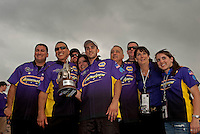 May 1, 2011; Baytown, TX, USA: NHRA pro stock driver Vincent Nobile (center)celebrates with his crew after winning the Spring Nationals at Royal Purple Raceway. Mandatory Credit: Mark J. Rebilas-