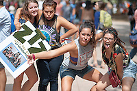 Occidental College Zeta Tau Zeta co-ed fraternity students get involved at the annual Involvement Fair (formerly Club Day) on Tuesday, September 11, 2012 in the Academic Quad. About 120 organizations set up shop with mailing list sign up sheets, fliers for upcoming events and information about ways to get involved with their department or organization.<br />