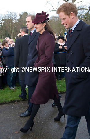 "KATE'S 1ST CHRISTMAS AT SANDRINGHAM.Catherine, Duchess of Cambridge joined members of the Royal Family for her first Christmas at Sandringham, Norfolk..She attended Christmas Day Service together with other members of the Roayal Familt a St. Mary Magdalene Church, Sandringham_25/12/2011.Mandatory Credit Photo: ©NEWSPIX INTERNATIONAL..Please telephone : +441279324672 for usage fees..**ALL FEES PAYABLE TO: ""NEWSPIX INTERNATIONAL""**..IMMEDIATE CONFIRMATION OF USAGE REQUIRED:.Newspix International, 31 Chinnery Hill, Bishop's Stortford, ENGLAND CM23 3PS.Tel:+441279 324672  ; Fax: +441279656877.Mobile:  07775681153.e-mail: info@newspixinternational.co.uk"