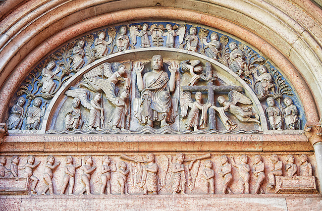 West portal lunette relief sculptures depicting Christ giving a blessing with angels on one side and the Cross on the other on the Romanesque Baptistery of Parma, circa 1196, (Battistero di Parma), Italy