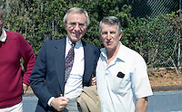 Sportscaster Chris Schenkel with Boston Red Sox legend Johnny Pesky during spring training circa 1992 at Chain of Lakes Park in Winter Haven, Florida.  (MJA/Four Seam Images)