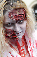 Headshot of female participant in the prague zombi walk in may 2014.