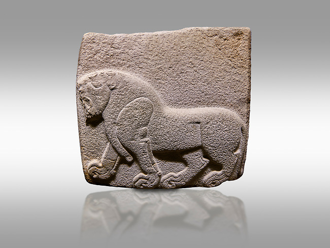 Aslantepe Hittite relief sculpted orthostat stone panel. Limestone, Aslantepe, Malatya, 1200-700 B.C. . Anatolian Civilisations Museum, Ankara, Turkey. Depiction of a horse walking.<br /> <br /> Against a gray background.