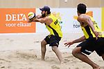 04.01.2019, Den Haag, Sportcampus Zuiderpark<br />Beachvolleyball, FIVB World Tour, 2019 DELA Beach Open<br /><br />Annahme Bruno Oscar Schmidt (#2 BRA), Pedro Solberg Salgado (#1 BRA)<br /><br />  Foto © nordphoto / Kurth
