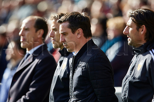 01.17.2016. Mestalla Stadium, Valencia, Spain. La Liga, Valencia versus Rayo. Gary Neville (2nd R) and Phill Neville (2nd L) look on prior to the game