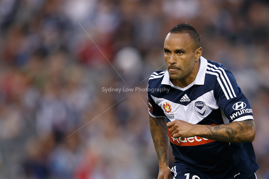 Archie THOMPSON of the Victory celebrates his goal in the round four match between Melbourne Victory and Wellington Phoenix in the Australian Hyundai A-League 2013-24 season at Etihad Stadium, Melbourne, Australia.<br /> This image is not for sale. Please visit zumapress.com for image licensing.
