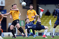 Charlie Kelman of Southend United cycle kicks the ball towards the goal forcing Jamal Blackman of Bristol Rovers into a great save during Southend United vs Bristol Rovers, Sky Bet EFL League 1 Football at Roots Hall on 7th March 2020