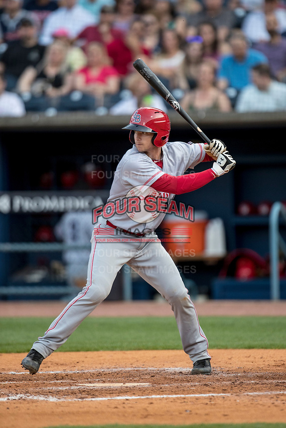 Louisville Bats catcher Rob Brantly (14) at bat against the Toledo Mud Hens during the International League baseball game on May 17, 2017 at Fifth Third Field in Toledo, Ohio. Toledo defeated Louisville 16-2. (Andrew Woolley/Four Seam Images)