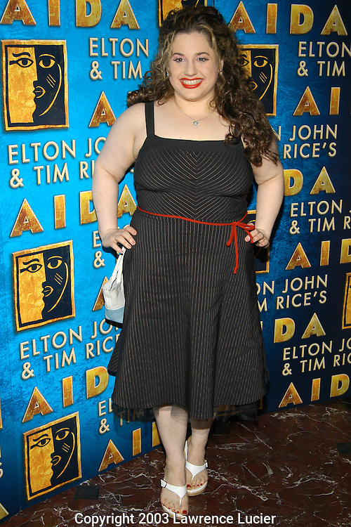 NEW YORK - JULY 17:  Actress Marissa Jaret Winokur appears at the after party for recording artist Toni Braxton's debut in the Broadway musical Aida July 17, 2003, at Laura Belle in New York City.