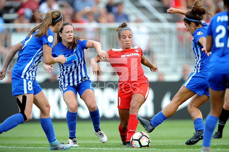 Boyds, MD - Saturday August 12, 2017: Allysha Chapman, Mallory Pugh during a regular season National Women's Soccer League (NWSL) match between the Washington Spirit and the Boston Breakers at Maureen Hendricks Field, Maryland SoccerPlex.