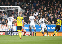 Burton Albion's Hope Akpan scores his sides first goal  beating Bolton Wanderers Ben Alnwick<br /> <br /> Photographer Mick Walker/CameraSport<br /> <br /> The EFL Sky Bet Championship - Burton Albion v Bolton Wanderers - Saturday 28th April 2018 - Pirelli Stadium - Burton upon Trent<br /> <br /> World Copyright &copy; 2018 CameraSport. All rights reserved. 43 Linden Ave. Countesthorpe. Leicester. England. LE8 5PG - Tel: +44 (0) 116 277 4147 - admin@camerasport.com - www.camerasport.com
