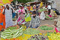 Colorful fruit and vegetable market, Udaipur, India.