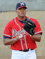 12 April 2008: RHP Jairo Cuevas (15) of the Mississippi Braves, Class AA affiliate of the Atlanta Braves, in a game against the Mobile BayBears at Trustmark Park in Pearl, Miss. Photo by:  Tom Priddy/Four Seam Images