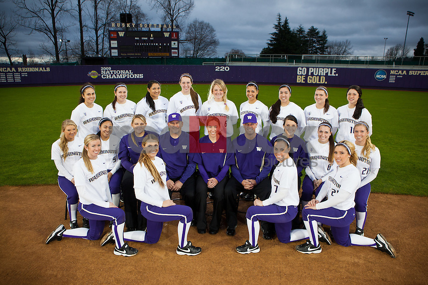 The University of Washington softball team at their home field in Seattle on Jan. 7, 2011. (Photography by Andy Rogers/Red Box Pictures)