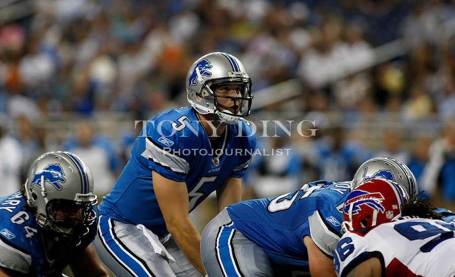 Detroit Lions quarterback Drew Stanton (5) takes a snap in the second quarter of a preseason NFL football game with the Buffalo Bills, Thursday,  Sept. 2, 2010, in Detroit. (AP Photo/Tony Ding)