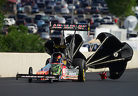 Jul, 21, 2012; Morrison, CO, USA: NHRA top fuel dragster driver Terry McMillen during qualifying for the Mile High Nationals at Bandimere Speedway. Mandatory Credit: Mark J. Rebilas-US PRESSWIRE