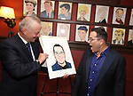 Max Klimavicius and Michael Mayer during the Michael Moore And Michael Mayer portrait unveilings as they join the Wall of Fame at Sardi's on September 21, 2017 at Sardi's in New York City.