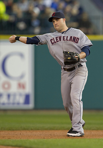 September 27, 2011:  Cleveland Indians second baseman Jason Kipnis (#22) throws the ball to first base during MLB game action between the Cleveland Indians and the Detroit Tigers at Comerica Park in Detroit, Michigan.  The Tigers defeated the Indians 9-6.