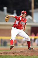 Batavia Muckdogs pitcher Christian MacDonald (39) delivers a pitch during a game against the Lowell Spinners on July 18, 2014 at Dwyer Stadium in Batavia, New York.  Lowell defeated Batavia 11-2.  (Mike Janes/Four Seam Images)
