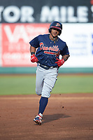 Willie Carter (15) of the Danville Braves rounds the bases after hitting a home run against the Pulaski Yankees at Calfee Park on June 30, 2019 in Pulaski, Virginia. The Braves defeated the Yankees 8-5 in 10 innings.  (Brian Westerholt/Four Seam Images)