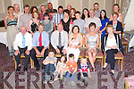 Baby Fraya Morrison, Laune View, Killorglin, pictured with her parents Richard and Annemaire, sister Ava, godparents Joe McGillycuddy and Rosarie McGillycuddy, family and friends at her christening celebrations in the Malton Hotel Killarney after her christening in St James Church, Killorglin on Sunday.