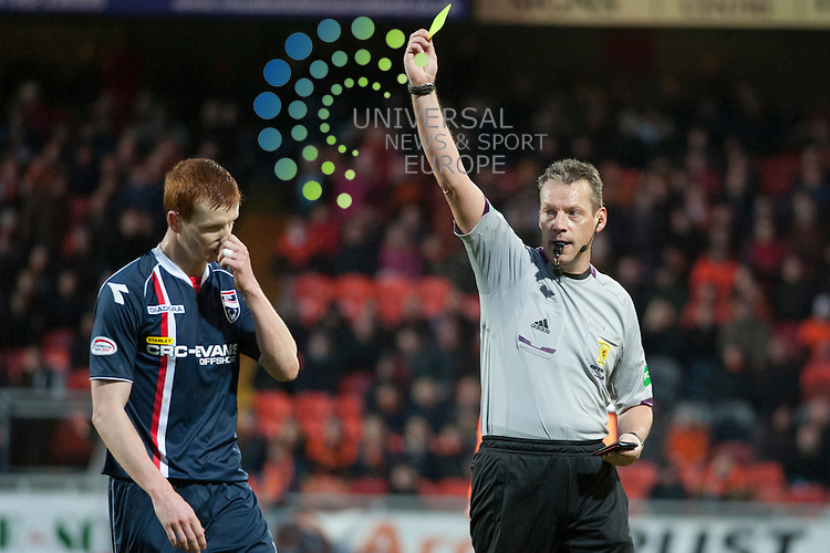 Scott Boyd picks up a yellow card during the Dundee Utd v Ross County match at Tannadice.  Picture: Fraser Stephen/Universal News And Sport (Scotland).  Saturday 27 January 2013.