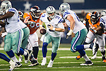 Dallas Cowboys quarterback Brandon Weeden (3) in action during the pre-season game between the Denver Broncos and the Dallas Cowboys at the AT & T stadium in Arlington, Texas. Denver leads Dallas 10 to 3 at halftime.