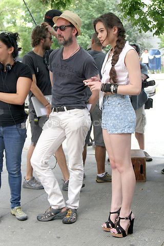 "July 09, 2012 Director John Carney with Hailee Steinfeld shooting on location for the new VH-1 film, ""Can a Song Save Your Life ?"" in New York City. © RW/MediaPunch Inc."