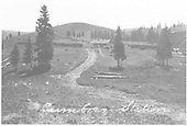View from north of depot with cars on siding.  The wye snowshed is visible at right.  Notice the snow fences to the south of the depot.<br /> D&amp;RG  Cumbres, CO  Taken by Lively, Charles R.