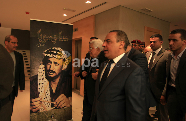 Palestinian President Mahmoud Abbas attends the opening ceremony of museum of late Palestinian leader Yasser Arafat, in the West Bank city of Ramallah November 9, 2014. Arafat's death on November 11, 2004 still remains a mystery with some research indicating he may have been poisoned by polonium, a theory which is accepted by much of the Palestinian street. Photo by Shadi Hatem