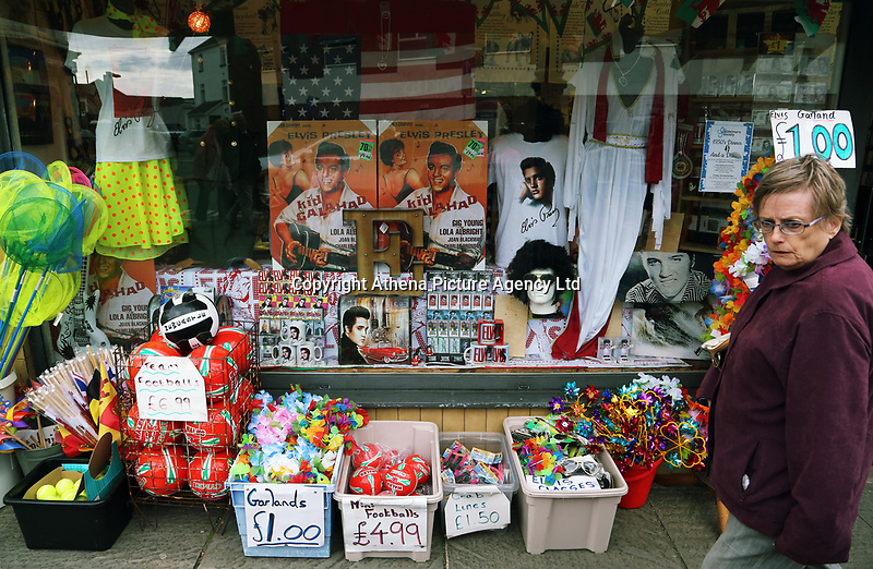 Pictured: Elvis Presley memorabilia and accessories on sale at a local shop. Friday 22 September 2017<br />Re: Porthcawl Elvis Festival 2017, at the seaside town in Wales, UK