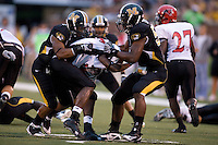 06 September 2008: Missouri defensive end Jacquies Smith #53 and Trey Hobson #31 tackle Southeast Missouri State cornerback Eddie Calvin #31 during first half action at Memorial Stadium in Columbia, Missouri.