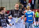 Domagoj Duvnjak, (THW Kiel #4) / Micha Zarabec, (THW Kiel #24) / Lachen x/ TVB 1898 Stuttgart - THW Kiel / DHB Pokal Viertelfinale / HBL / 1.Handball-Bundesliga / SCHARRrena / Stuttgart Baden-Wuerttemberg / Deutschland beim Spiel im DHB Pokal Viertelfinale, TVB 1898 Stuttgart - THW Kiel.<br /> <br /> Foto © PIX-Sportfotos *** Foto ist honorarpflichtig! *** Auf Anfrage in hoeherer Qualitaet/Aufloesung. Belegexemplar erbeten. Veroeffentlichung ausschliesslich fuer journalistisch-publizistische Zwecke. For editorial use only.