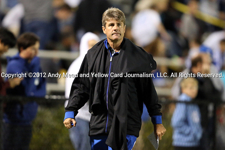 12 October 2012: Duke head coach John Kerr, Jr. The University of Maryland Terrapins defeated the Duke University Blue Devils 2-1 at Koskinen Stadium in Durham, North Carolina in a 2012 NCAA Division I Men's Soccer game.