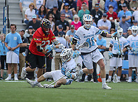 Baltimore, MD - April 28, 2018: Johns Hopkins Blue Jays Brinton Valis (41) in action during game between John Hopkins and Maryland at  Homewood Field in Baltimore, MD.  (Photo by Elliott Brown/Media Images International)