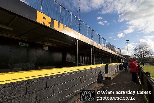 Rushall Olympic 1 Workingon 0, 17/02/2018. Dales Lane, Northern Premier League Premier Division. The covered enclosure at Dales Lane, home of Rushall Olympic. Photo by Paul Thompson. Rushall Olympic 1 Workingon 0, Northern Premier League Premier Division, 17th February 2018. Rushall is a former mining village now part of the northern suburbs of Walsall.