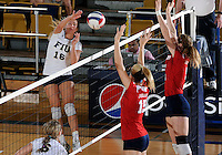 Florida International University women's volleyball player Jovana Bjelica (16) plays against Florida Atlantic University.  FIU won the match 3-0 on October 26, 2011 at Miami, Florida. .