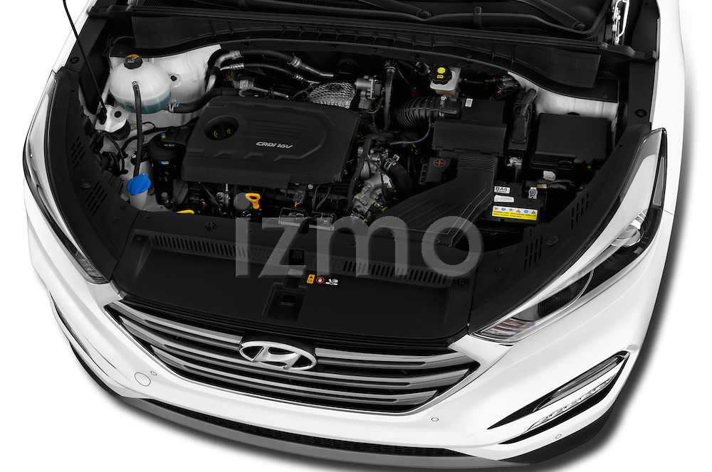 Car Stock 2015 Hyundai Tucson Launch Edition 5 Door Suv Engine high angle detail view
