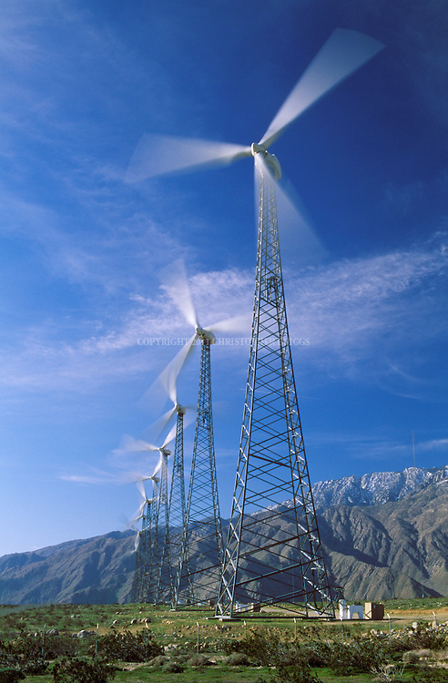 San Gorgonio Pass Wind Farm (70 sq mi), one of three major wind farms in the state. Developed beginning in the 1980's; now over 4,000 turbines being operated by over 20 companies. Turbines range from 80-160 ft (24-49 m) tall, last 20-25 yrs, cost about $300,000 and $30,000 a year to maintain. Turbine blades range in length from 66-130 ft (20-40 m) or more. Compartments at top contain generator/hub/gearbox and weigh 30,000 to 45,000 pounds. Most turbines manufactured in Denmark. Output largely sold to So. California Edison under long-term contracts. Riverside County, CA.